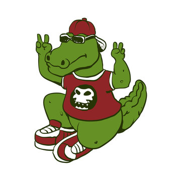 funny alligator with sunglasses and shoes.vector illustration.