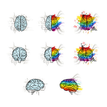 Set of technical and creative hemispheres on human brain in different views, left and right brain functions concepts isolated on white