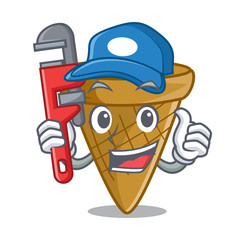 Plumber sweet wafer cone isolated on maskot