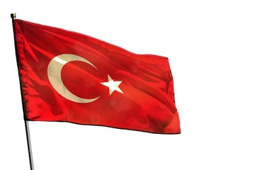 Fluttering Turkey flag on clear white background isolated.