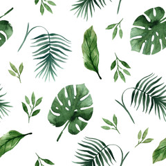 Seamless tropical pattern with palm leaves and branchese,hand drawn watercolor
