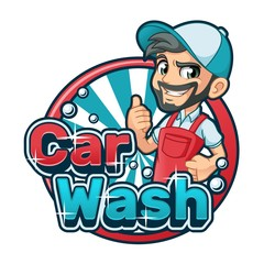 Car wash cartoon logo character design vector illustration