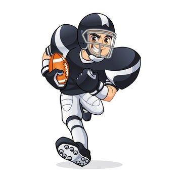 American football player running cartoon character design vector illustration