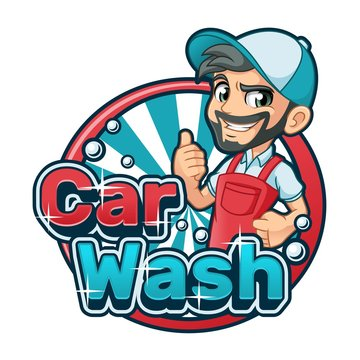 Car wash cartoon logo character design vector illustration