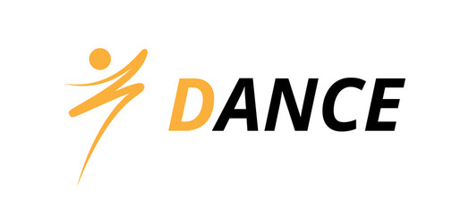 Dance fitness logo design, icon drawing orange