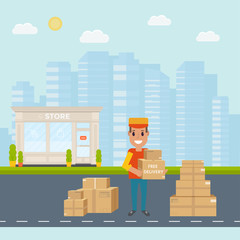 Logistics and delivery service concept: smiling couriers with pa