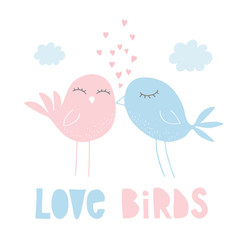 Love Birds Hand Drawn Vector Illustration. Cute Kissing Birds. Pink Design. White Background. Hearts Flying Up. Hand Written Letters. Childish Style.