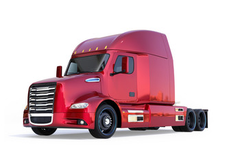 Metallic red fuel cell powered American truck cabin isolated on white background. 3D rendering image.