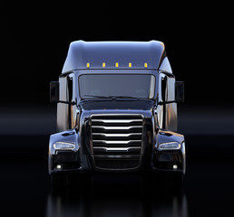 Front view of black fuel cell powered American truck cabin on black background. 3D rendering image.