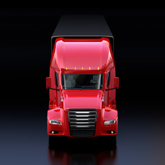 Front view of metallic red fuel cell powered American truck cabin on black background. 3D rendering image.
