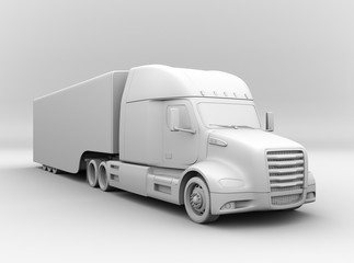 Clay rendering of fuel cell powered American truck. 3D rendering image.