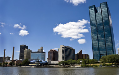 Toledo, OH Skyline from a Boat on the Maumee River.