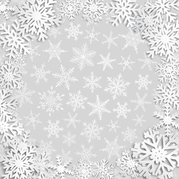 Christmas illustration with circle frame of white snowflakes on gray background