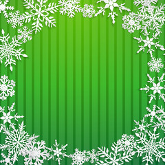 Christmas illustration with circle frame of big white snowflakes with shadows on striped green background
