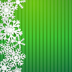 Christmas illustration with big white snowflakes with shadows on striped green background