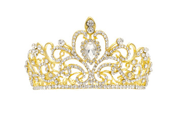 Wall Mural - gold crown with diamonds isolated on white
