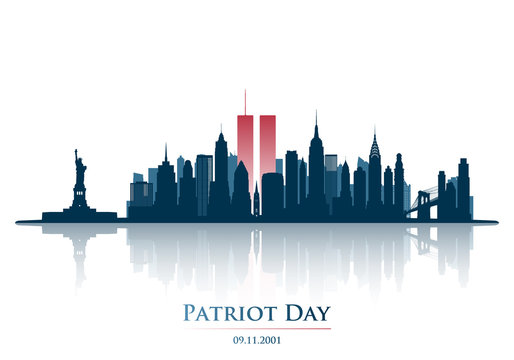 Twins Tower in New York City Skyline. World Trade Center. September 11, 2001 National Day of Remembrance. Patriot Day anniversary banner. Vector illustration.
