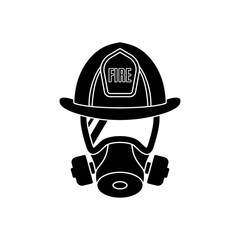 Firefighter wearing protective gas mask and helmet. Men icon isolated on white background. Fire Department emblem. Vector illustration.