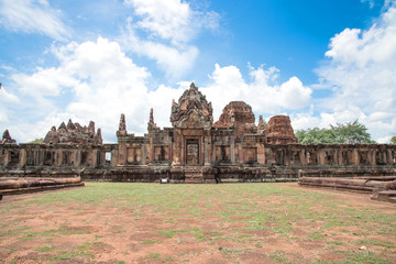 The public place is PRASAT MUANG TAM is historic and ancient castle of generality in Buriram province Thailand and a kind of Khmer architect art decorated in the Buddhist temple,pavilion,temple hall