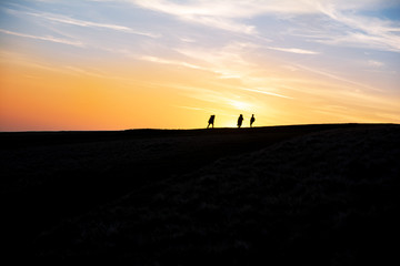 People walking on a hill in front of a beautiful sunset