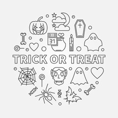 Trick or Treat round outline vector Halloween illustration