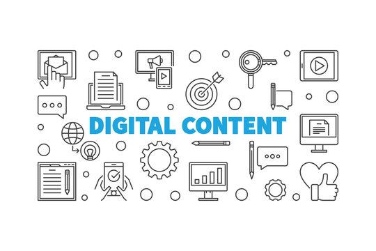 Digital Content outline vector horizontal illustration