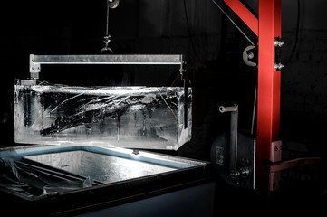 Big rectangular ice piece produced at the factory