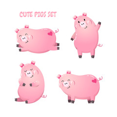 Collection of cute cartoon pigs. Vector illustration. Template for postcard, banner, flyer, web design. New Year 2019