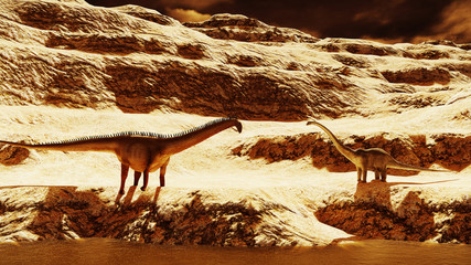 Huge diplodocus on barren land