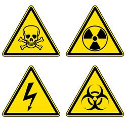 Danger and warning signs set, emergency vector symbols.