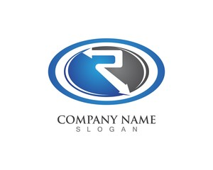 Letter R Logo Template Circle Arrow Design