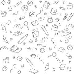 Funny seamless pattern with school supplies and creative elements. Back to school background. Hand drawn vector doodle