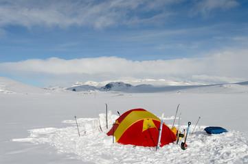 Winter camp in Norwegian Jotunheimen mountains