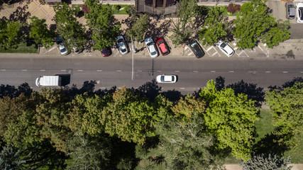 Fotobehang San Francisco Top down view of of city road with cars, Krasnodar, Russia.