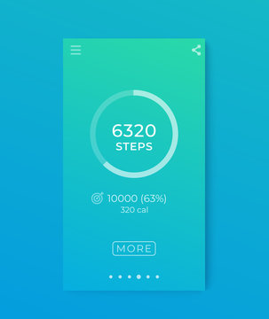 Fitness app, activity tracker, pedometer, step counter mobile interface for smartphone
