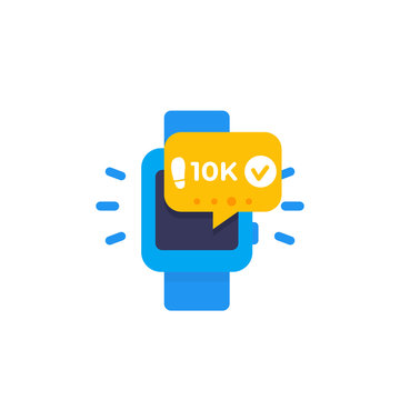 Fitness app, track the steps, pedometer in smart watch icon