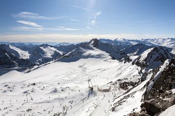Beautiful view of the ski slope, Alps mountains, Austria, Stubai