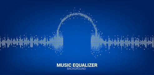 Sound wave Music Equalizer background, audio visual headphone icon