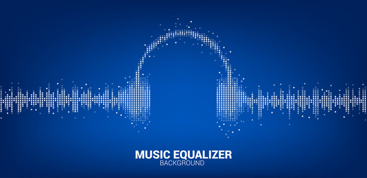Sound wave Music Equalizer background, audio visual headphone icon