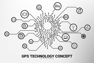 Location Pin mark icon and place around with circuit line graphic, concept of location and facility place , GPS technology