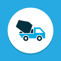 Concrete mixer icon colored symbol. Premium quality isolated cement vehicle element in trendy style.