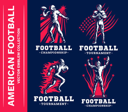 American football emblem collections, designs templates on a dark background