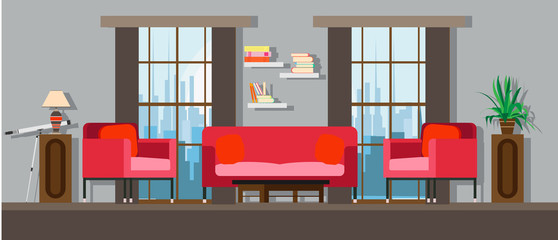 Interior living room home furniture design. Modern house apartment sofa vector. Flat bright window, table, wall decor. Illustration floor concept lamp, plant, chair. Cartoon elegant simple background