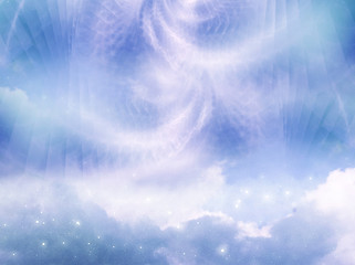 Wall Mural - abstract magic mystic angelic background with sky, clouds and stars in blue green tonality