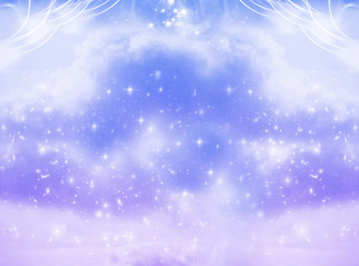 Wall Mural - abstract magic mystic angelic background with sky, clouds and stars in blue purple tonality