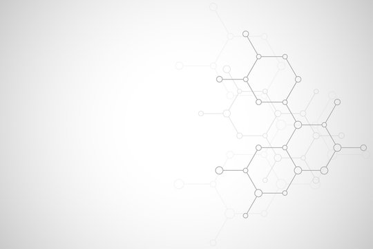 Abstract molecular structure and chemical elements. Medical, science and technology concept. Vector geometric background from hexagons.