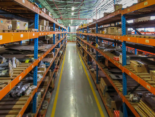 Warehouse store aisle with stacked shelving
