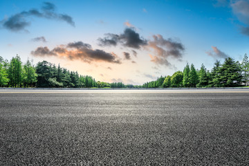 Empty asphalt road and green forest landscape at sunrise