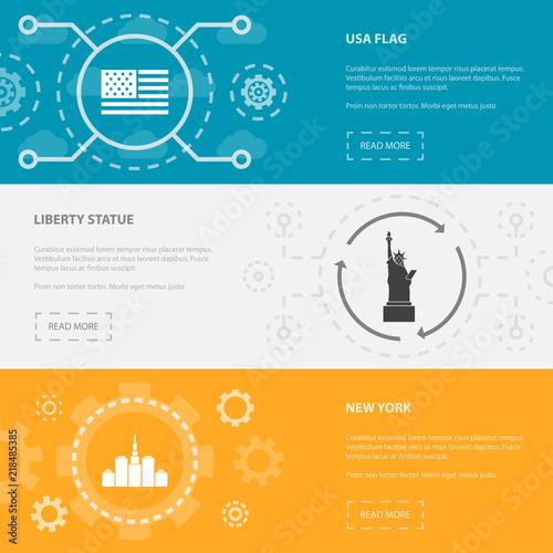 usa 3 horizontal webpage banners template with usa flag liberty
