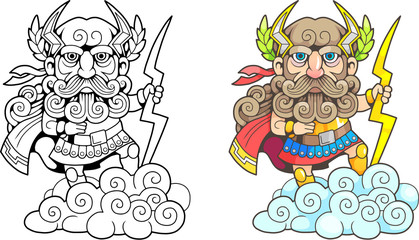 cartoon ancient greek god Zeus, funny illustration, coloring book